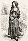 Bernadette Soubirous old engraved portrait. Created by Marc, published on L'Illustration, Journal Un