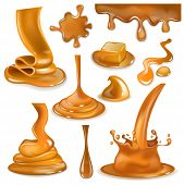 Caramel Splash Vector Sweet Flowing Liquid Sauce Or Pouring Chocolate Cream Illustration Set Of Cara poster