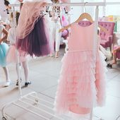 Clothing For A Little Girl On A Clothes Rack In A Wardrobe. Fashion Show. Birthday Party. poster