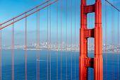 San Francisco City And Golden Gate Bridge At Sunset, San Francisco, California. poster