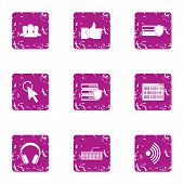 Computer Attack Icons Set. Grunge Set Of 9 Computer Attack Vector Icons For Web Isolated On White Ba poster