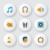 Audio Icons Flat Style Set With Voice, Listen, Bullhorn And Other Audio Elements. Isolated  Illustra poster