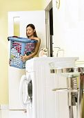 woman carry laundry basket