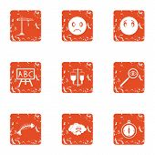 Poorly Icons Set. Grunge Set Of 9 Poorly Icons For Web Isolated On White Background poster