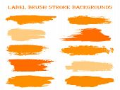 Minimal Label Brush Stroke Backgrounds, Paint Or Ink Smudges Vector For Tags And Stamps Design. Pain poster