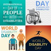 World Day Persons Disabilities Banner Set. Cartoon Illustration Of World Day Persons Disabilities Ba poster