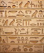 Egyptian hieroglyphs on the wall