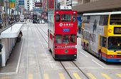 HONG KONG - DECEMBER 05: Unidentified people use city tram on December 05, 2010. Hong Kong tram is t