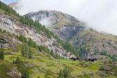 picture of hughes  - small swiss village settlement of wooden houses on a meadow in front of forest of the mighty rocks in Wallis - JPG