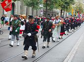 ZURICH - AUGUST 1: Unidentified man in historical costume representing Swiss army of the 19th centur