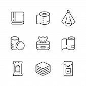 Set Line Icons Of Towel And Napkin Isolated On White. Vector Illustration poster