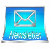 Decorative Modern Blue Newsletter Button - 3d Illustration poster