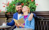 Man With Beard And Blonde Woman Cuddle On Romantic Date. Romance Concept. Couple Flirting Romantic D poster
