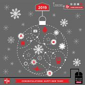 Red Pathway In The Shape Of Christmas Ball On Grey Background. White Red Grey Christmas Logistics Ic poster