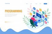 Isometric Programmer Coding New Project. Web Developer, Programming Concept. Landing Page Or Mobile  poster