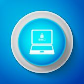Laptop With Lock And Password Form Page On Screen Icon Isolated On Blue Background. Laptop With Pass poster