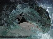 an image of a broken car window