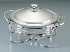 stock photo of chafing  - Chafing Dish made of stainless steel for buffet - JPG