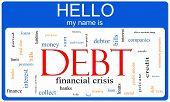 Debt Word Cloud Nametag Concept