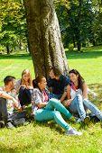 Students sitting in park talking smiling teens leisure campus schoolyard