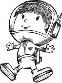 Sketch Doodle Astronaut space Walking Vector Illustration