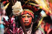 GOROKA, PAPUA, NEW GUINEA - SEPTEMBER 17: colorful portrait of  an aboriginal at Goroka Tribal Festi
