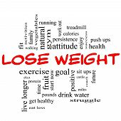 Lose Weight Word Cloud Concept In Red & Black