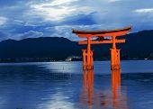 Great floating gate (O-Torii) on Miyajima island near Itsukushima shinto shrine, Japan shortly after