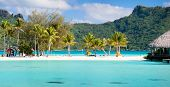 Panorama of perfect beach with coconut palms in French Polynesia