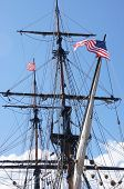foto of yardarm  - Mast yardarms rigging and sails of tall ship near Kirkland Washington - JPG