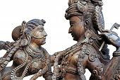 stock photo of krishna  - Wooden Statue of Hindu God Krishna with Radha - JPG