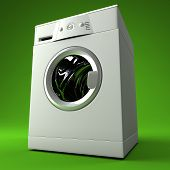 stock photo of washing machine  - fine image 3d of classic washing machine with green background - JPG