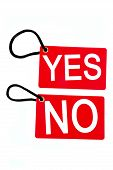 Red Paper Tag Labeled With Yes And No Words