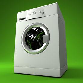 stock photo of washing machine  - fine image 3d of classic washing machine with green background - JPG
