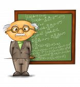 picture of academia  - funny cartoon professor standing by the blackboard against white background - JPG