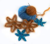 Crocheted Flowers Made Of Artificial And Natural Yarn
