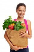 pic of vegan  - Portrait of woman with groceries shopping bag full of healthy vegetables smiling - JPG