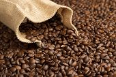 foto of coffee crop  - jute bag on background of coffee beans - JPG