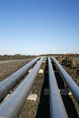 Industrial Pipelines In Vulcanic Landscape