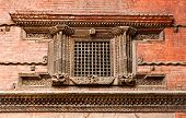 picture of hanuman  - Carved wooden window on Hanuman Dhoka old Royal Palace - JPG