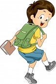 Sideview Illustration of a Little Kid Boy Student Carrying a Backpack and a Book