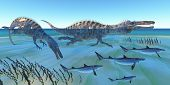 stock photo of behemoth  - Two Suchomimus dinosaurs hunt small sharks in ocean shallow water - JPG