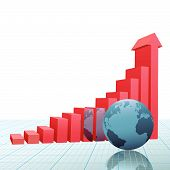 Progress Growth Bar Chart Arrow On Graph With Earth