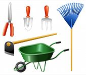 Illustration of the gardening tools on a white background
