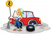 image of kinetic  - Illustration of a female mechanic near the car accident on a white background - JPG