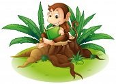 Illustration of a monkey reading above a stump