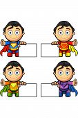 A Super Man Character - With Blank Sign