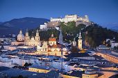 stock photo of mozart  - Image of Salzburg during twilight blue hour - JPG