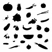 Set Of Vector Illustration Fruit And Vegetable Black Silhouettes