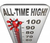 All-Time High words on a thermometer illustrating increasing heat or score to be the highest on reco